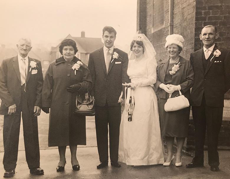 My Nan and Grandad's wedding photo at St John's Church at bottom of Whitefoot Lane
